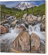 Mount Rainier Glacial Flow Wood Print by Adam Romanowicz