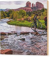 Mountain Bikers Crossing Cathedral Falls Wood Print by Linda Pulvermacher
