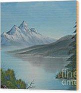 Mountain Lake Painting A La Bob Ross Wood Print by Bruno Santoro