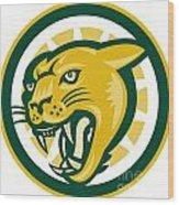 Mountain Lion Puma Big Cat Head Wood Print by Aloysius Patrimonio