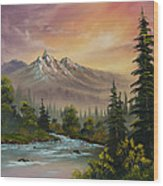 Mountain Sunset Wood Print by C Steele