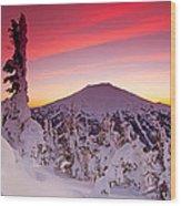 Mt. Bachelor Winter Twilight Wood Print by Kevin Desrosiers