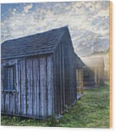 Mt Leconte Cabins Wood Print by Debra and Dave Vanderlaan