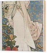 Mucha, Alphonse Maria 1860-1939 Wood Print by Everett