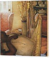 Music - Harp - The Harp Wood Print by Mike Savad