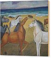 Mustang Mates Wood Print by Prasenjit Dhar