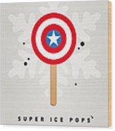 My Superhero Ice Pop - Captain America Wood Print by Chungkong Art