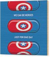 My Superhero Pills - Captain America Wood Print by Chungkong Art