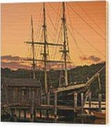Mystic Seaport Sunset-joseph Conrad Tallship 1882 Wood Print by Thomas Schoeller