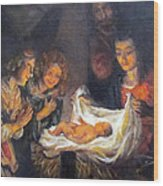 Nativity Scene Study Wood Print by Donna Tucker
