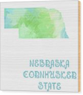 Nebraska - Cornhusker State - Map - State Phrase - Geology Wood Print by Andee Design