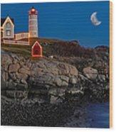 Neddick Lighthouse Wood Print by Susan Candelario