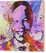 Nelson Mandela Watercolor Wood Print by Naxart Studio