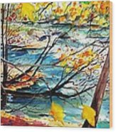 New England Leaves Along The River Wood Print by Scott Nelson