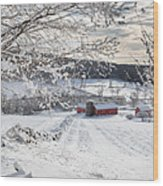 New England Winter Farms Square Wood Print by Bill Wakeley