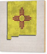 New Mexico Map Art With Flag Design Wood Print by World Art Prints And Designs