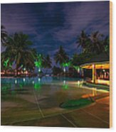 Night At Tropical Resort 1 Wood Print by Jenny Rainbow