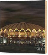 night WVU basketball Coliseum arena in Wood Print by Dan Friend