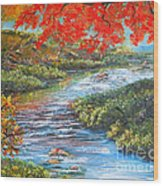 Nixon's Brilliant View Of Fall Alongside The Rapidan River Wood Print by Lee Nixon
