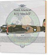 North American B-25j Mitchell Yellow Rose Wood Print by Arthur Eggers