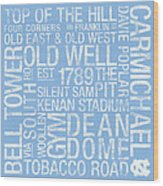 North Carolina College Colors Subway Art Wood Print by Replay Photos