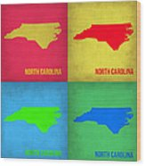 North Carolina Pop Art Map 1 Wood Print by Naxart Studio