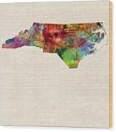 North Carolina Watercolor Map Wood Print by Michael Tompsett