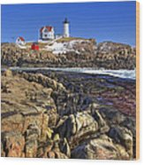 Nubble Lighthouse Wood Print by Joann Vitali