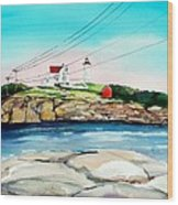 Nubble Lighthouse Maine Wood Print by Scott Nelson