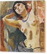 Nude Brunette With Blue Necklace Nu La Brune Au Collier Bleu Wood Print by Jules Pascin