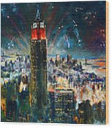 Nyc In Fourth Of July Independence Day Wood Print by Ylli Haruni
