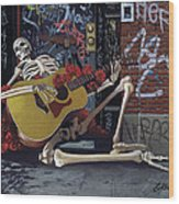 Nyc Skeleton Player Wood Print by Gary Kroman