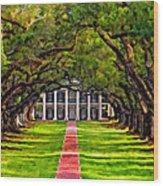 Oak Alley Paint Version Wood Print by Steve Harrington