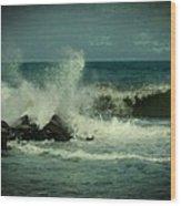 Ocean Impact - Jersey Shore Wood Print by Angie Tirado