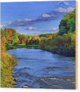 October On The Cuyahoga Wood Print by Dennis Lundell