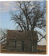 Oklahoma Shack Wood Print by Ellen Henneke