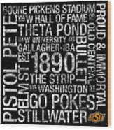 Oklahoma State College Colors Subway Art Wood Print by Replay Photos