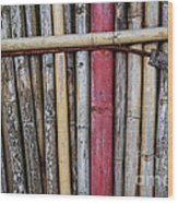 Old Bamboo Fence Wood Print by Niphon Chanthana