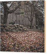 Old Barn In Autumn Wood Print by Edward Fielding