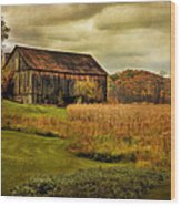 Old Barn In October Wood Print by Lois Bryan