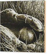 Old Baseball Glove With Ball In The Grass Wood Print by Sandra Cunningham