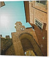 Old Clock On The Tower And Sun Wood Print by Raimond Klavins