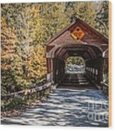 Old Covered Bridge Vermont Wood Print by Edward Fielding