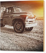Old Farm Truck With Explosion At Night Wood Print by Edward Fielding