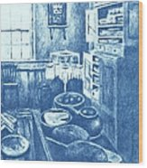 Old Fashioned Kitchen In Blue Wood Print by Kendall Kessler