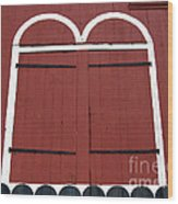 Old Red Kutztown Barn Doors Wood Print by Anna Lisa Yoder