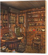Old Time Pharmacy - Pharmacists - Druggists - Chemists   Wood Print by Lee Dos Santos