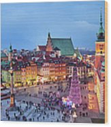 Old Town In Warsaw At Evening Wood Print by Artur Bogacki