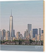 One World Trade Center And Ellis Island 2 Wood Print by Susan Candelario