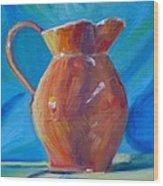 Orange Pitcher Still Life Wood Print by Donna Tuten